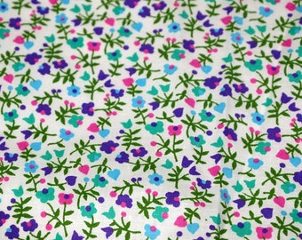 vintage 70s cotton fabric, featuring pretty pink, purple and green calico print, 1 yard