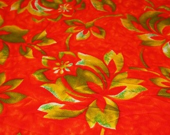 SALE vintage 60s novelty print fabric, featuring great large scale hawaiian style print, 1 yard, 2 available, priced PER YARD