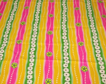 SALE vintage 60s yellow floral crepe novelty fabric featuring great stripes, dots and flowers motif, 1 yard, 2 available, priced PER YARD