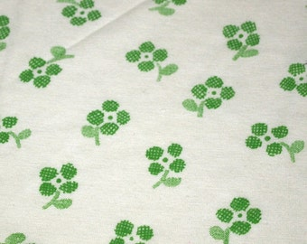 vintage 70s knit fabric, featuring cute clover print, 1 yard, 5 inches EXTRA WIDE