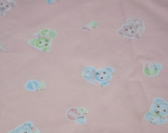 vintage 80s novelty juvenile fabric, featuring adorable teddy bear design, 1 yard, 18 inches