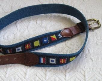 Flag Belt .  Leather and Flag Belt .  Maritime Signal Belt . Nautical Signal Belt