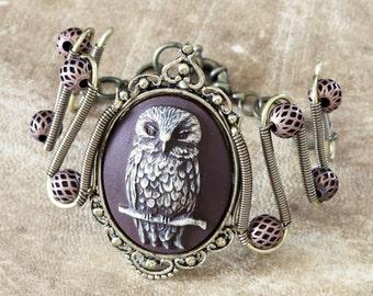Neo Victorian Steampunk Jewelry - Bracelet - Brown Owl Cameo