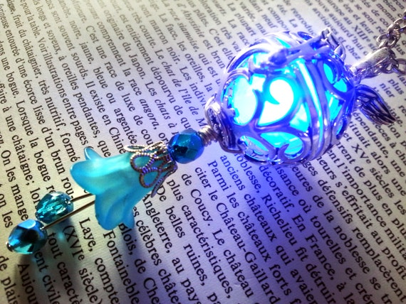 Necklace - Locket with glowing Orb with wings