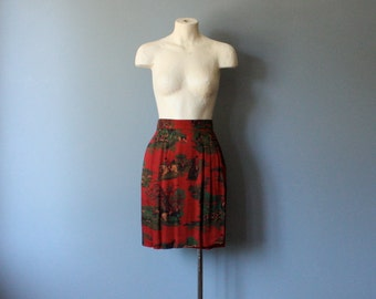 vintage novelty pencil skirt / faux wrap skirt / xs