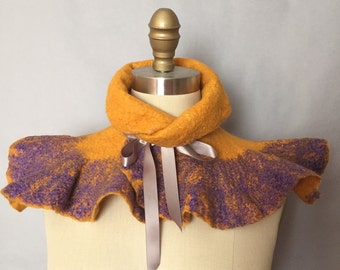 Felted Scarf Yellow Purple / Wavy Felted Collar / Felted Neckwarmer / Fiber Art / Lichens Collection - Goldenrod