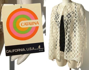 Vintage Catalina Jacket Swimsuit Baby Doll Cover Up Windowpane Lace M NOS w/ Tags