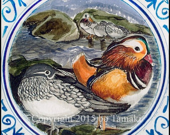 Mandarin Duck Wedding Card for Happy Marriage