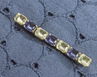 REDUCED Vintage Art Deco Bar Pin With Sapphire Blue and Clear Glass Baguette Cut Strass Paste Stones,Mothers DayGift FREE UK Postage