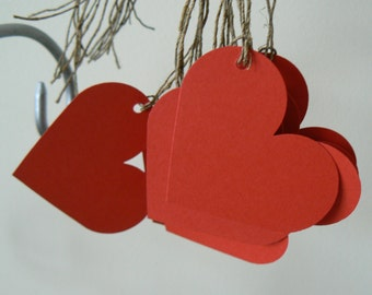 30 red or black card heart shaped strung tags party gift baby shower wedding favors  1.1/2 inches x 1.hand made