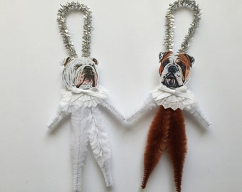 BULLDOG ornaments dog ORNAMENTS vintage style chenille ornaments set of 2