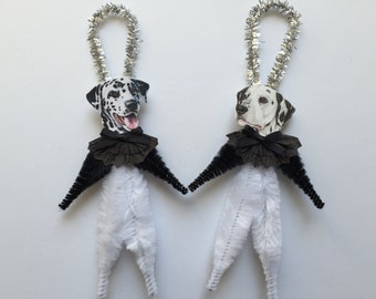 DALMATIAN ornaments dog ORNAMENTS vintage style chenille ornaments set of 2