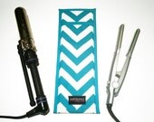 Flat Iron Case/Curling Iron Travel Cover, Chevron, Teal/White - In Stock Ready To Ship