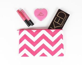 Hot Pink and White Chevron Print makeup bag