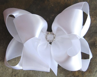 LARGE Double Layer Satin Boutique Hair Bow with Rhinestone Center in White
