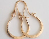 Artisan 14kt Gold Filled Hammered Hoops Earrings Petite Gabriela
