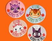 kittens againist cat calls | 2.25 inch pin back button