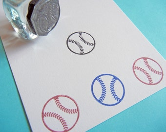 Tiny Baseball Sports Rubber Stamp  - Handmade by BlossomStamps