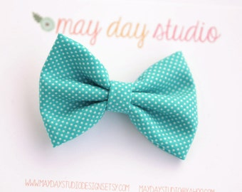 girls/toddler fabric boutique bow hair clip, turquoise and white tiny dot alligator clip hair bow
