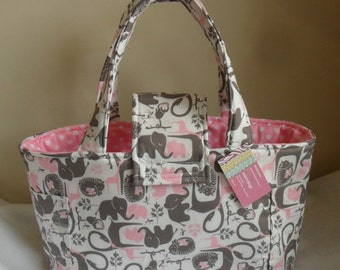 Large Pink and Gray Elephants Giraffes Monkeys and Polka Dots Diaper Bag Tote