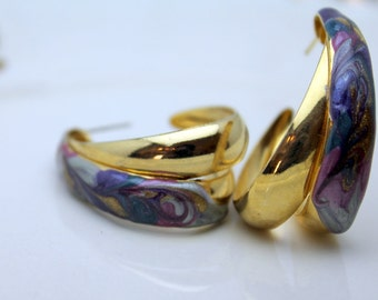 Vintage 1980's Oval Double Hoop Gold Earrings Post Style