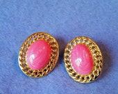 Vintage Pink and Gold Clip-on Earrings