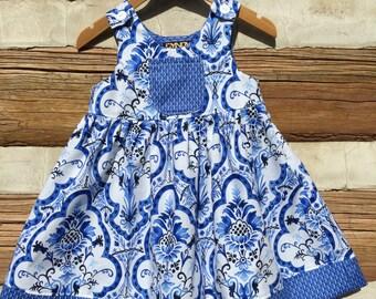 Little Girls La Provence Blue Summer Beach Dress, Back To School Dress, Sundress, Beach, Toddler Dress, Boutique Dress,  Print Dress