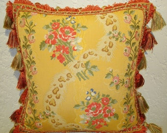 Yellow Designer Pillow with Pindler Floral and Leopard Motif and Tassel Trim