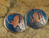 Etched Copper Metal Stamps, Earring Beads, Blue Bird #786 by CC Design
