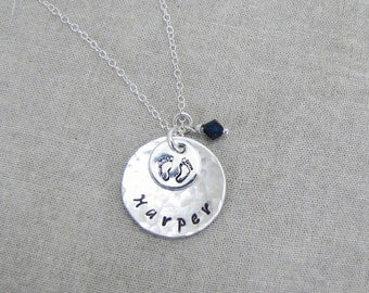 PERSONALIZED Sterling Silver Hammered Disc Necklace With Baby Feet, Name Necklace, Birthstone Jewelry