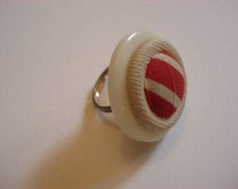 Stacked Button Ring - Vintage Buttons - Striped Pink Cloth Button Center - Adjustable