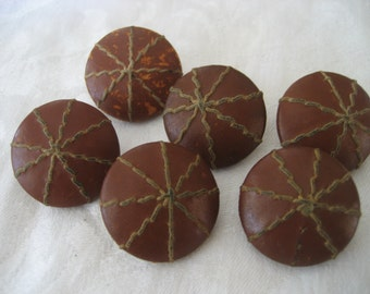 Set of 6 VINTAGE Leather Stitched BUTTONS