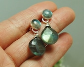 Labradorite stud Dangle Earrings Sterling Silver Posts Earrings