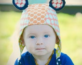 wildThings caps ear flap avaitor bombardier animal cap costume hat bonnet OOAK infant/baby size 0-14m in pirate polka (by UB2)