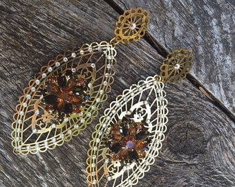 Fantasy Gypsy Boho Tribal Filigree Dangle Earrings with Amber Rhinestones