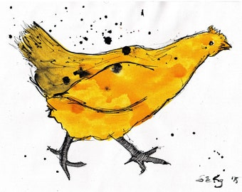 Ink drawing on canvas A4 - yellow running chicken