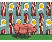Pig Wall Art / Bacon And Eggs Art/ Kitchen Home Decor / Pig Home Decor / Pig Lover Gift / Bacon Lover Gift / Funny Pig Art / Farmhouse Decor