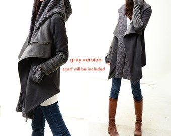 Tuareg - thick cotton fleece jacket and scarf set / lined cotton coat free scarf / thermo jacket / hoodie jacket (Y1228)