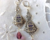 oO MORNING GLORY Oo purple crystal swarovski earrings
