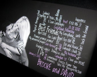 Your Photo and words, text, poem or lyrics on custom personalized canvas 24X24