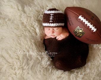 Baby Boy Football Beanie, Newborn Boy Hat, Baby Football Hat, Infant Sports Hat, Winter Baby Hat, Chunky Baby Beanie, Brown Baby Hat