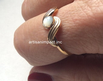 Engagement ring, Gold Filled ring, shell ring, simple Gold ring, dainty ring, Gold shell ring, delicate ring, boho ring - The Reason R2248