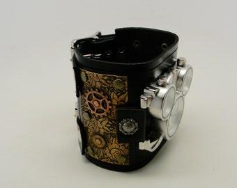 Steampunk watch. Biker watch. Leather cuff watch.