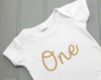 First Birthday Shirt, First Birthday Bodysuit, Gold Glitter Cake Smash Shirt, 1st Birthday Shirt, Gold Glittery Number Shirt, Baby Birthday