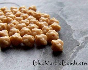 Glass Beads Loose-Beige Beads-Bumpy Beads-Spacer Beads-Saucer Beads-Vintage Beads-Vintage Glass Beads-Small Glass Beads-50 Beads