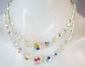 vintage | 50s 60s aurora borealis glass beaded 2-strand necklace