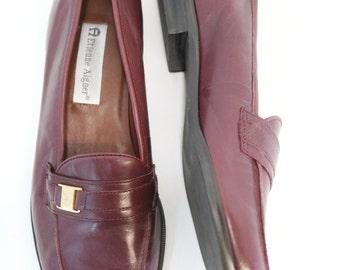 Sz 8 1/2 | vintage etienne aigner burgundy leather oxford loafers flats shoes