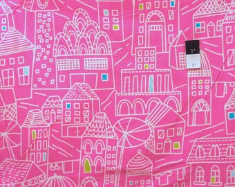 Erin McMorris FEM06 Irving Street Downtown Pink Cotton FLANNEL Fabric By The Yard
