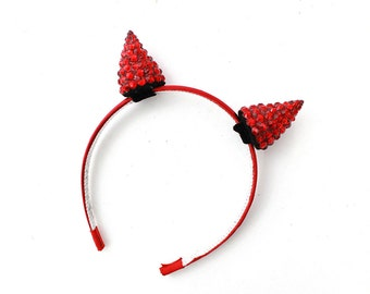 Small Red Devil Horns - Halloween Costume - Swarovski Crystal - Hair Accessory - Cosplay Headband - Clip In Horns - other colors available,