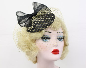 Black Cocktail Hat with Gold Birdcage Veil - Sinamay Fascinator - Bow Headpiece - Women's Hair Accessory - Pin Up Style - Unique Bridal